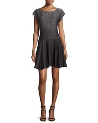 Halston Heritage Cap Sleeve Fit And Flare Dress Gray