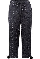 Figue Fiore Polka Dot Silk Satin Wide Leg Pants Navy Usd