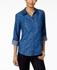 Style And Co Printed Denim Shirt Only At Macy's Wannabe Western