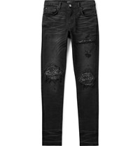 Amiri Mx1 Skinny Fit Panelled Distressed Stretch Denim Jeans Black