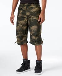 Sean John Big And Tall Printed Linen Patched Shorts Grapeleaf