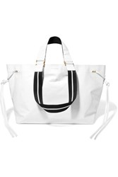 Isabel Marant Wardy Canvas Trimmed Textured Leather Tote White