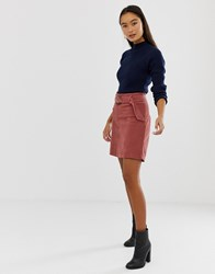 New Look Skirt With Buckles In Cord Pink