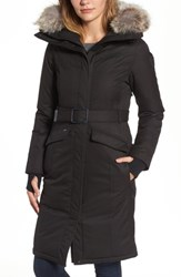 Nobis Morgan Long Belted Down Parka With Genuine Coyote Fur Trim Black