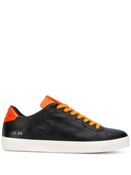 Leather Crown Two Tone Sneakers Black