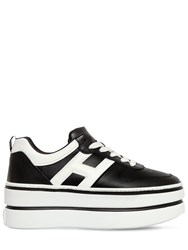 Hogan 70Mm Maxi Double Leather Sneakers Black