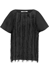 Chalayan Fringed Cotton Poplin Top Black