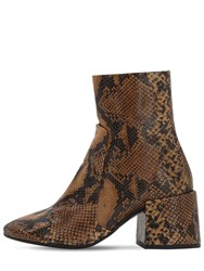 Jeffrey Campbell 70Mm Python Print Leather Boots Brown