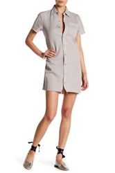 Mother The Short Sleeve Frenchie Fray Dress Beige