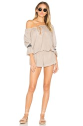 One Teaspoon The Rose Hill Muslin Romper Beige