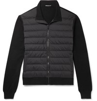 James Perse Shell Panelled Merino Wool And Cashmere Blend Down Jacket Black