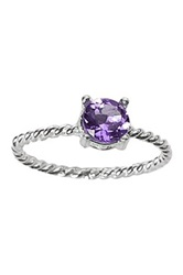 Ariane Arazi Sterling Silver Twisted Wire Round Amethyst Ring Purple