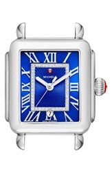 Michele Women's Deco Madison Diamond Dial Watch Case 33Mm X 35Mm Silver Cobalt Silver