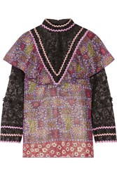 Anna Sui Embroidered Tulle And Printed Silk Blend Chiffon Blouse Purple