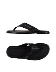 Giorgio Armani Toe Strap Sandals Black