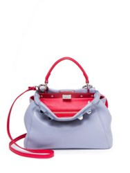 Fendi Peekaboo Mini Studded Leather Satchel Powder Blue