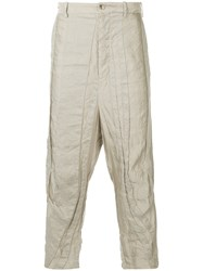 Forme D'expression Panelled Drop Crotch Trousers Nude And Neutrals