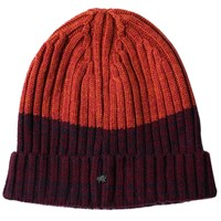 Lords Of Harlech Benny Beanie In Burgundy And Rust Red Yellow Orange