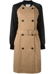 3.1 Phillip Lim Contrast Sleeve Trench Coat Brown