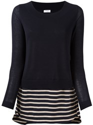 Akris Punto Striped Detail Jumper Blue
