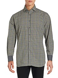 Corneliani Long Sleeve Checkered Cotton Shirt Natural Flannel