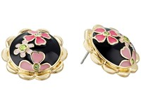 Betsey Johnson Memoirs Of Betsey Floral Button Stud Earrings Black Pink Earring
