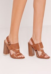 Missguided Block Heel Cross Strap Sandal Brown