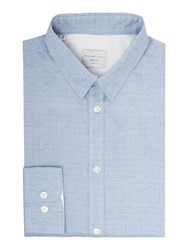 Selected Christian Tap Textured Shirt Light Blue