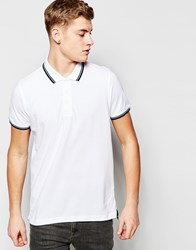 Brave Soul Tipped Polo Shirt White