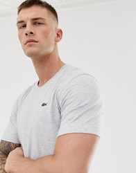 Lacoste Sport Small Logo T Shirt In Grey