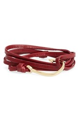 Men's Miansai Gold Hook Leather Bracelet Burgundy
