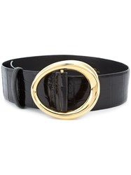 Oscar De La Renta Small Oval Buckle Belt Black