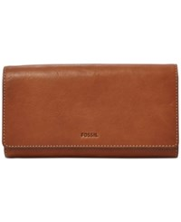 Fossil Emma Rfid Leather Flap Wallet Brown