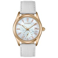Citizen Ev1033 08D Women's Corso Eco Drive Date Leather Strap Watch White Mother Of Pearl