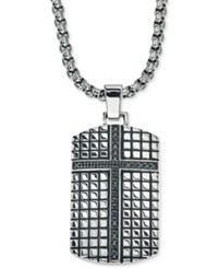 Esquire Men's Jewelry Diamond Cross Dog Tag Pendant Necklace 1 3 Ct. T.W. In Stainless Steel Only At Macy's Black