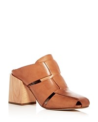 Donald J Pliner Women's Lilia Woven Leather Block Heel Mules Fawn