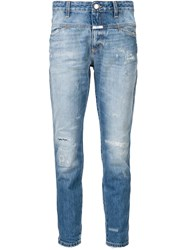 Closed Cropped Worker Jeans Blue