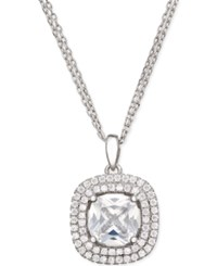 Giani Bernini Cubic Zirconia Double Halo Pave Pendant Necklace In Sterling Silver Only At Macy's