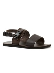 Topman Brown Leather Strap Sandals