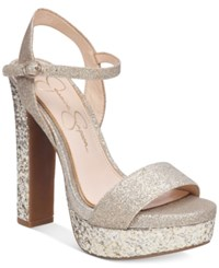 Jessica Simpson Blaney Platform Dress Sandals Women's Shoes Silver Gold Dusty Glitter