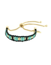 Laundry By Shelli Segal Pacific Highway Goldtone Bead Wrap Slider Bracelet Turquoise