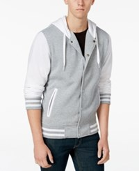 Ring Of Fire Hooded Varsity Jacket Heather Grey