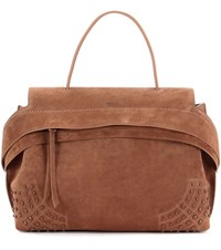 Tod's Exclusive To Mytheresa.Com Medium Wave Suede Tote Brown
