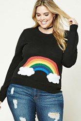 Forever 21 Plus Size Rainbow Sweater Black Pink