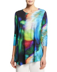 Caroline Rose Color Crush Asymmetric Jersey Tunic Petite Women's Multi Black