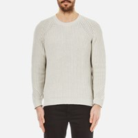 Folk Men's Crew Neck Knitted Jumper Silver Grey Silver Grey
