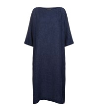 Eskandar Linen Tunic Dress Blue
