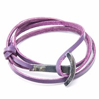 Anchor And Crew Grape Purple Clipper Leather Silver Bracelet Pink Purple