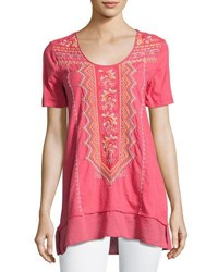 Johnny Was Floral Embroidered Flounce Tee Coral