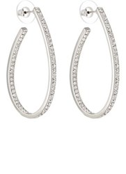 Kenneth Jay Lane Women's Rhinestone Embellished Oval Hoop Earrings No Color